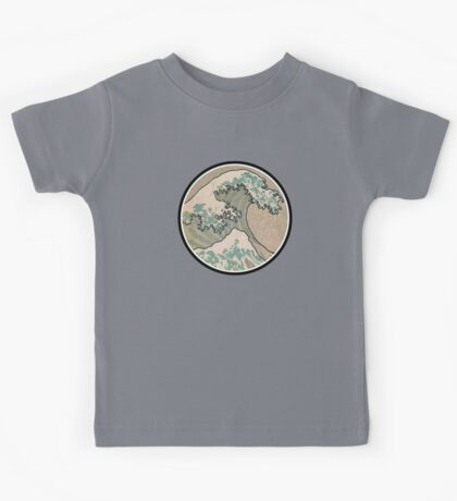 The great wave - Awesome Round design Kids Tee