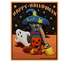 Halloween Scared Cat Art  Poster  Photographic Print