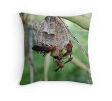 Red Wasp and nest Throw Pillow