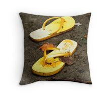 Yellow Sandals  Throw Pillow