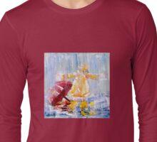 I Love Rain: Palette Knife painting by Alma Lee Long Sleeve T-Shirt
