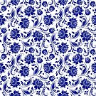 Elegant Floral Navy Blue And White Damasks by artonwear