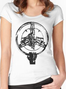 Mad Max Wheel Stencil Design Women's Fitted Scoop T-Shirt