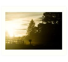 Wooded sunset. Art Print