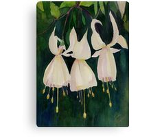 White Fuschias (Sleigh Bells) Canvas Print