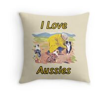 After the Rain Australian Shepherd Painting Throw Pillow