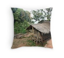 Hmong Ethnic Fire Wood House Throw Pillow