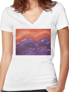 Mountain Majesty original painting Women's Fitted V-Neck T-Shirt