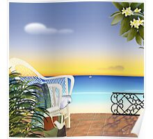 beach at sunset Poster