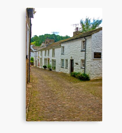 On The Cobbles - Village Street Canvas Print