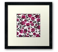Rustic Pink and Black Stem Rose Pattern Framed Print