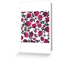 Rustic Pink and Black Stem Rose Pattern Greeting Card