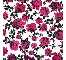 Rustic Pink and Black Stem Rose Pattern Photographic Print