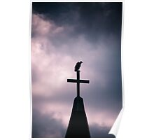 Buzzard on the Cross.....creepy Poster