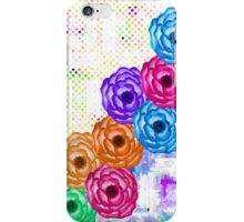 Bright Colorful Summer Watercolor Flowers and Dots iPhone Case/Skin
