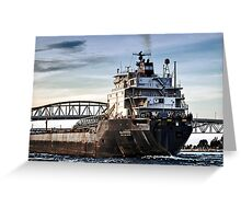 Freighter comming Greeting Card