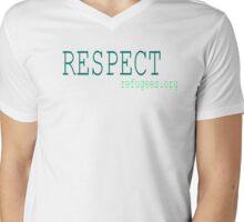 Respect Refugees Turquoise Mens V-Neck T-Shirt