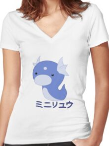 Dratini Kawaii Women's Fitted V-Neck T-Shirt