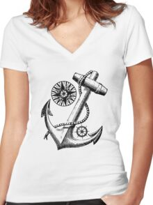 Vintage Nautical Anchor Design Women's Fitted V-Neck T-Shirt