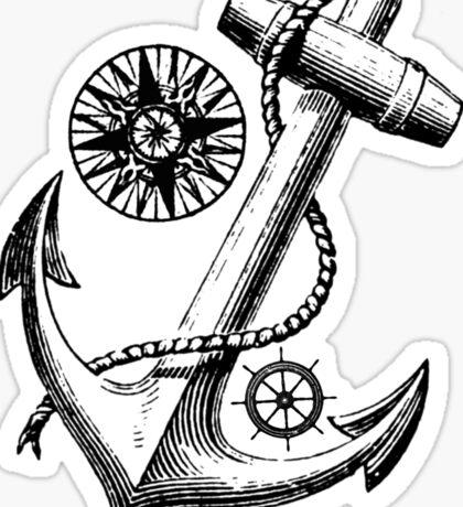 Vintage Nautical Anchor Design Sticker