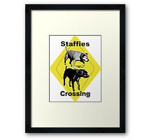 Staffies Crossing Sign Framed Print