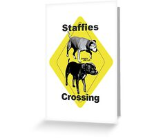 Staffies Crossing Sign Greeting Card