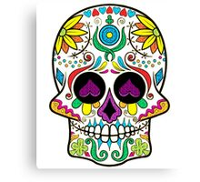 Colorful Floral Sugar Skull 3 Canvas Print