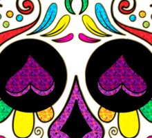 Colorful Floral Sugar Skull 3 Sticker
