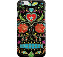 Colorful Floral Sugar Skull Glitter And Gold 2 iPhone Case/Skin