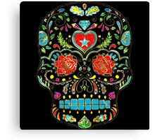 Colorful Floral Sugar Skull Glitter And Gold 2 Canvas Print