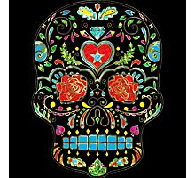 Colorful Floral Sugar Skull Glitter And Gold 2 Photographic Print
