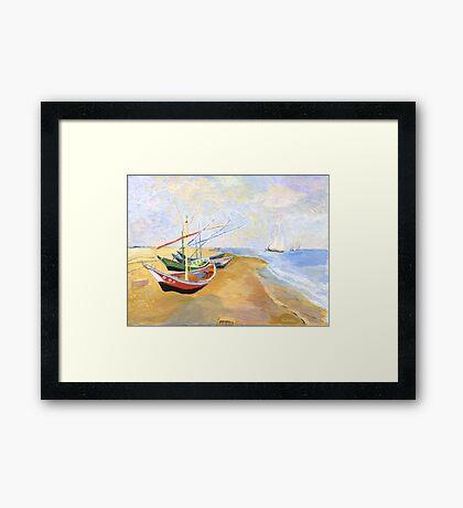 Boats On The Beach At Saintes-Maries after Van Gogh Framed Print