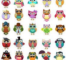 Cute Owls Set by kennasato