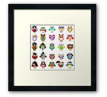 Cute Owls Set Framed Print