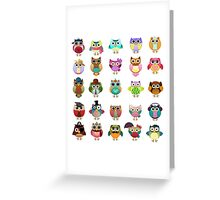 Cute Owls Set Greeting Card