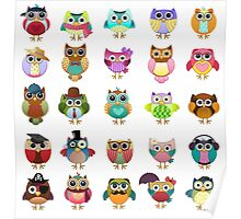 Cute Owls Set Poster