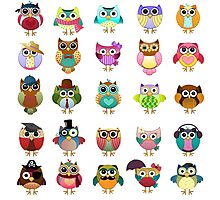Cute Owls Set Photographic Print
