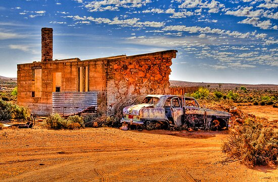 Deserted Settlers Cottage and Car by John Miner