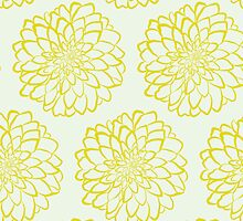 Yellow dahlia pattern on white background by o2creativeNY