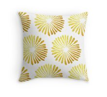 gold daisies pattern on White background  Throw Pillow