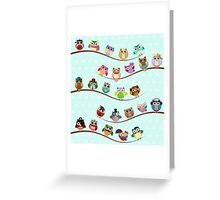 Cute Owls on Branch Greeting Card