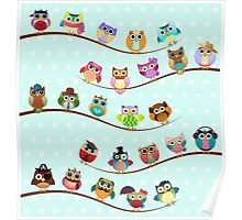 Cute Owls on Branch Poster