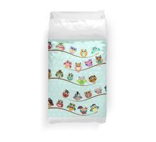 Cute Owls on Branch Duvet Cover