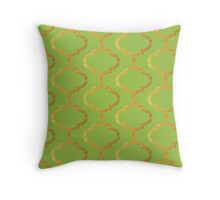 Mughal on acid green lattice Pattern Throw Pillow