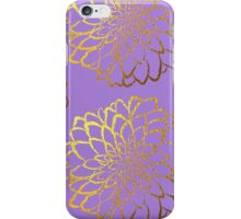 Dahlia on violet and gold pattern design iPhone Case/Skin