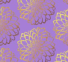 Dahlia on violet and gold pattern design by o2creativeNY