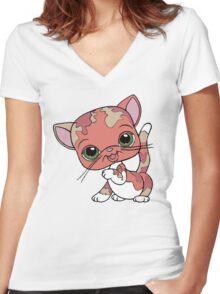 Littlest Pet Shop Cat Women's Fitted V-Neck T-Shirt