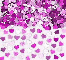 Festive Pink Hearts Confetti by HavenDesign