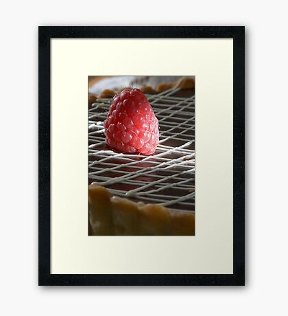 Raspberry pie capped with chocolate h Framed Print