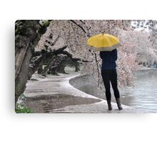Woman with yellow umbrella  Canvas Print